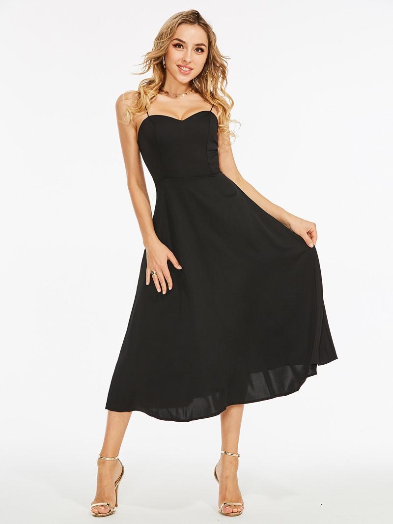 Ericdress Hollow Backless Spaghetti Strap A-Line Dress