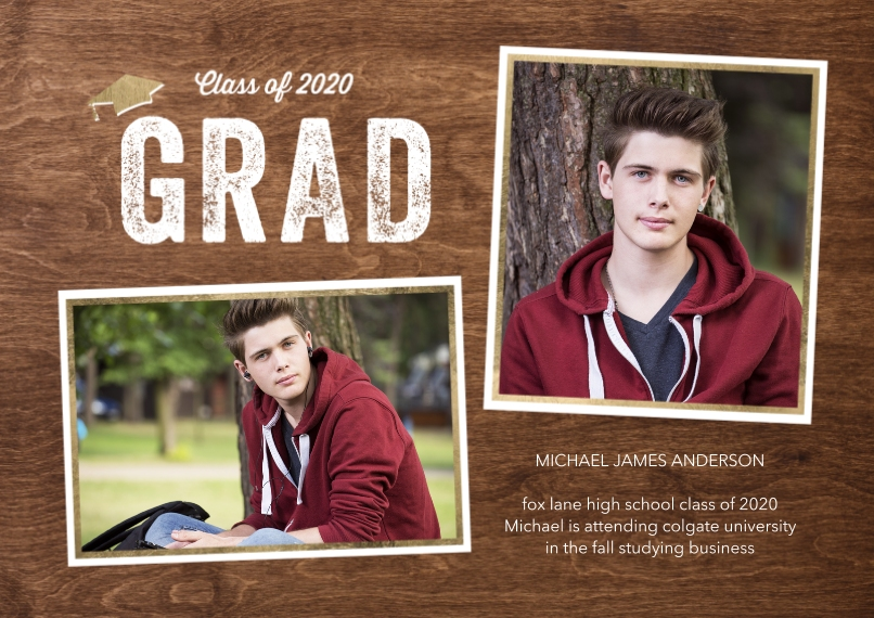 Graduation Announcements 5x7 Cards, Premium Cardstock 120lb with Rounded Corners, Card & Stationery -Class of 2020 Snapshots by Tumbalina