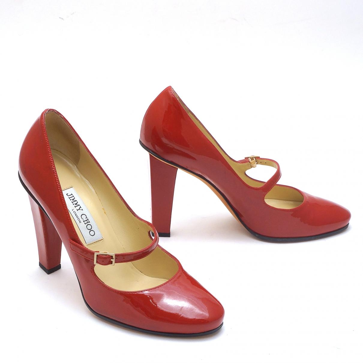 Jimmy Choo - Escarpins   pour femme en cuir verni - rouge