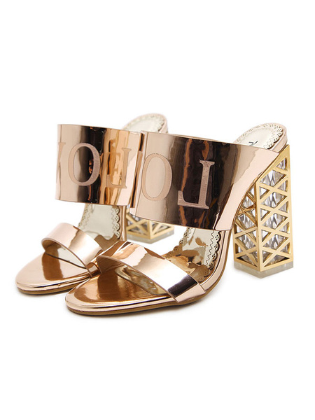 Milanoo High Heel Sandals Women Sandal Slippers Gold Open Toe Backless Sandal Shoes