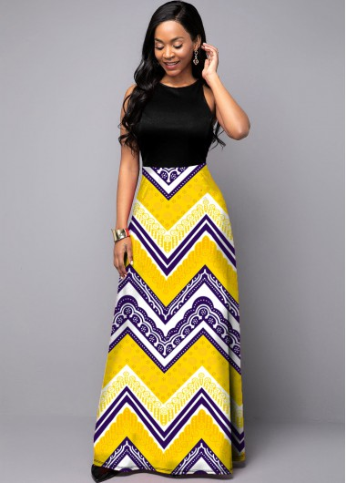 Cocktail Party Dress Tribal Print Round Neck Sleeveless Dress - 14