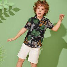 Jungen Hemd mit Pflanzen Muster