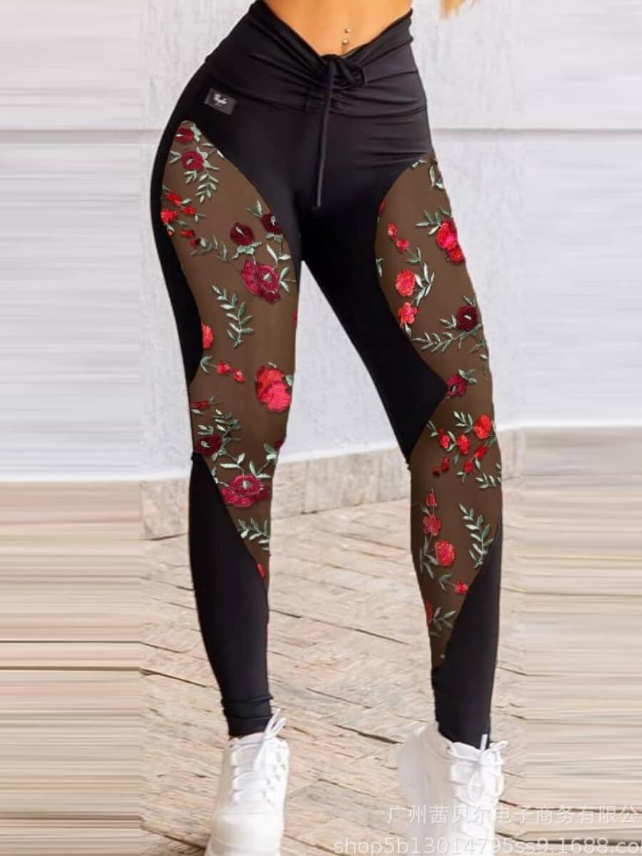 LW Lovely Sportswear Floral Print Mesh Patchwork Drawstring Black Pants