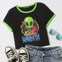 Camiseta corta ringer con estampado de extraterrestre