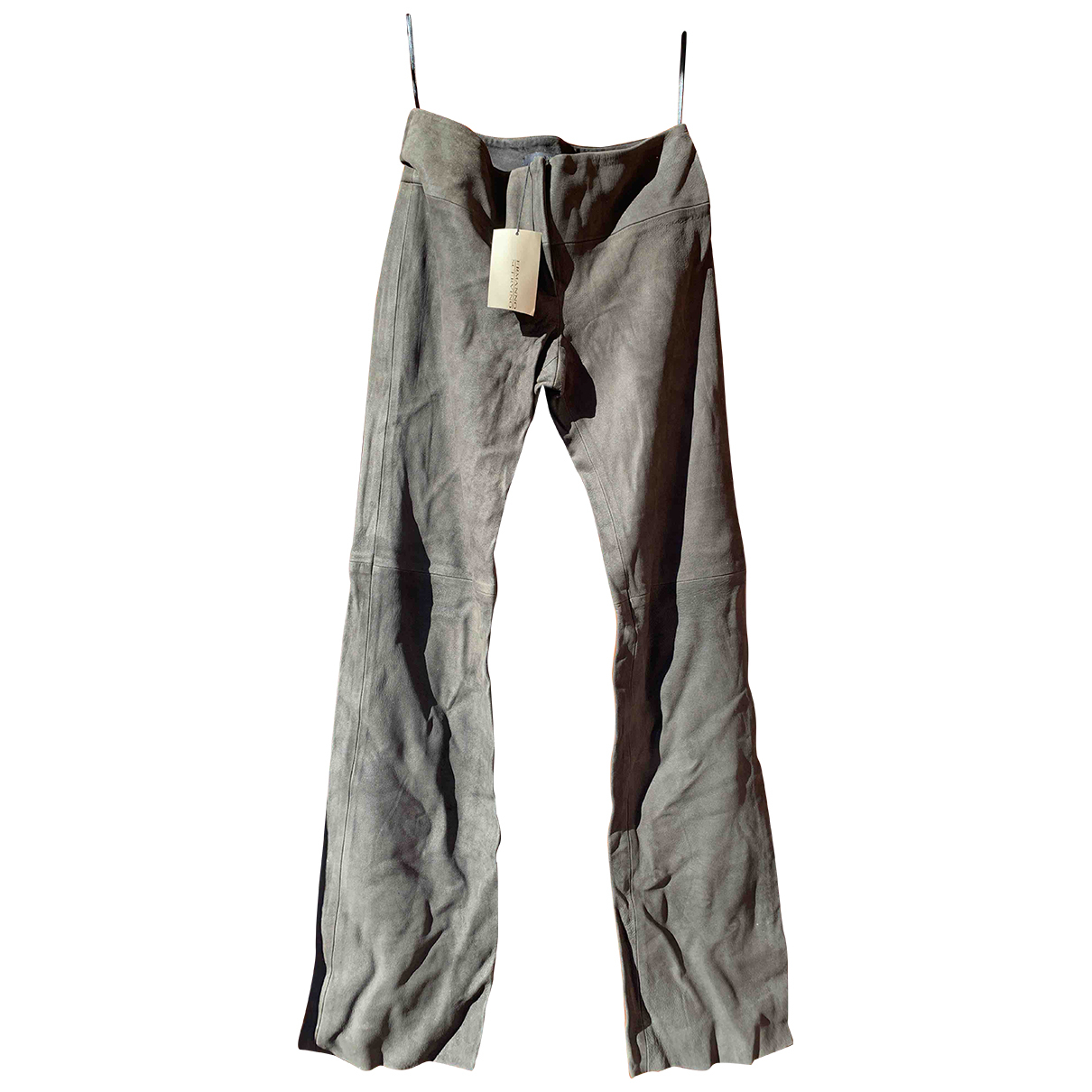 Ermanno Scervino N Grey Leather Trousers for Women 44 IT