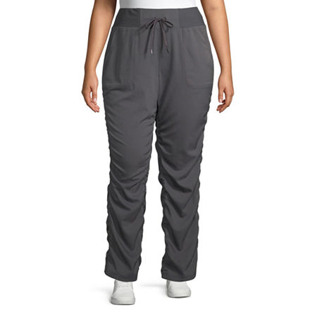St. John's Bay Womens Mid Rise Straight Drawstring Pants - Plus, 1x , Gray