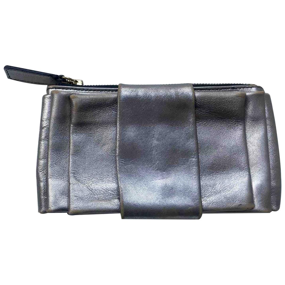 Valentino Garavani - Portefeuille   pour femme en cuir - argente