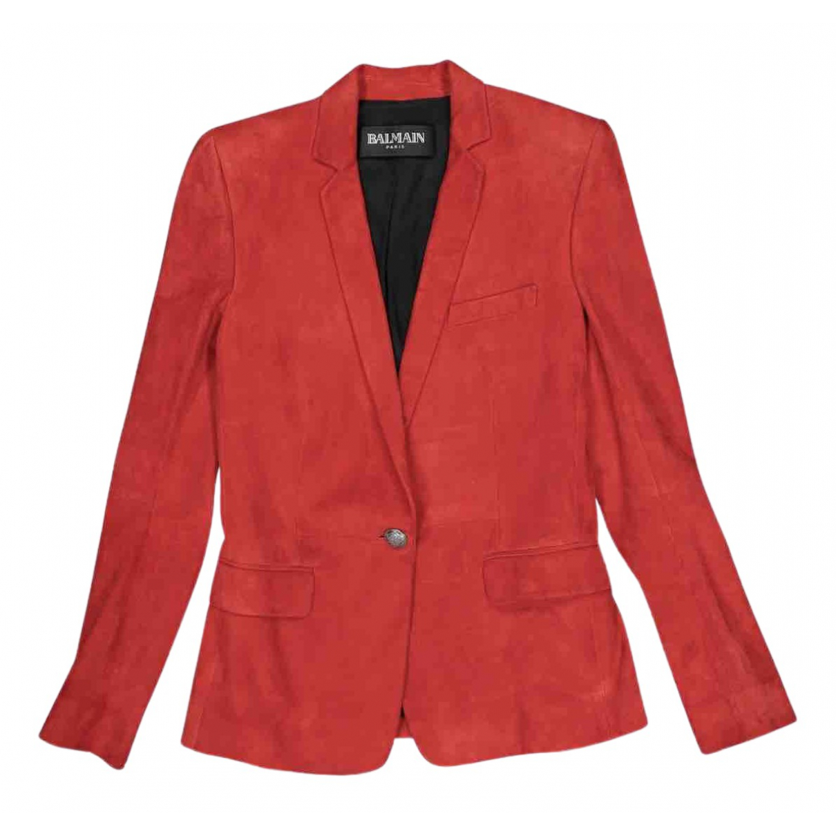 Balmain N Red Suede jacket for Women 38 FR