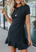 Lace Ruffled Mini Dress without Necklace - Black