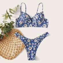 Daisy Floral Rueschen Bueste Buegel Bikini Badeanzug