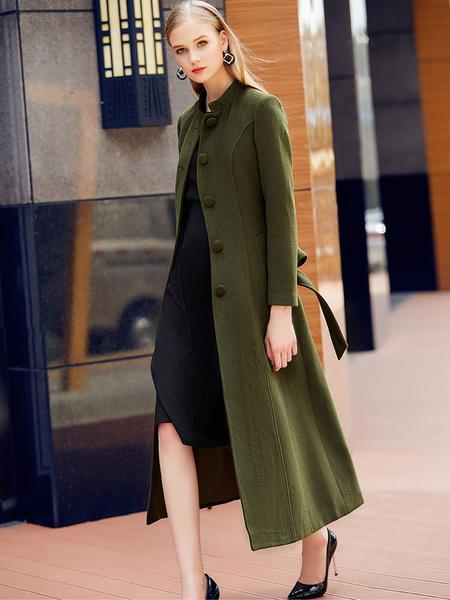 Milanoo Abrigo de mezclada de lana con manga larga con escote Ilusion Color liso con faja elegante