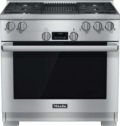HR1135GGR 36 Pro-Style Natural Gas Range with 5.8 cu. ft. Twin Convection Fan Oven  4 Sealed M Pro Dual Stacked Burners  TrueSimmer Burners