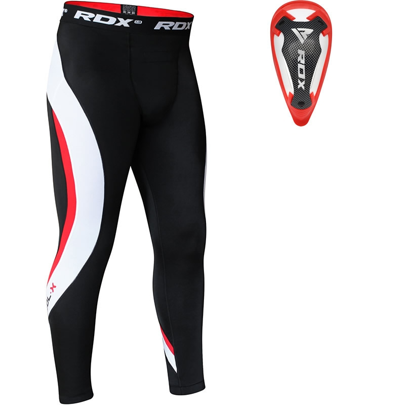 RDX Compression Pantalons de Compression and Coquille Protege Moyenne  Rouge Neoprene