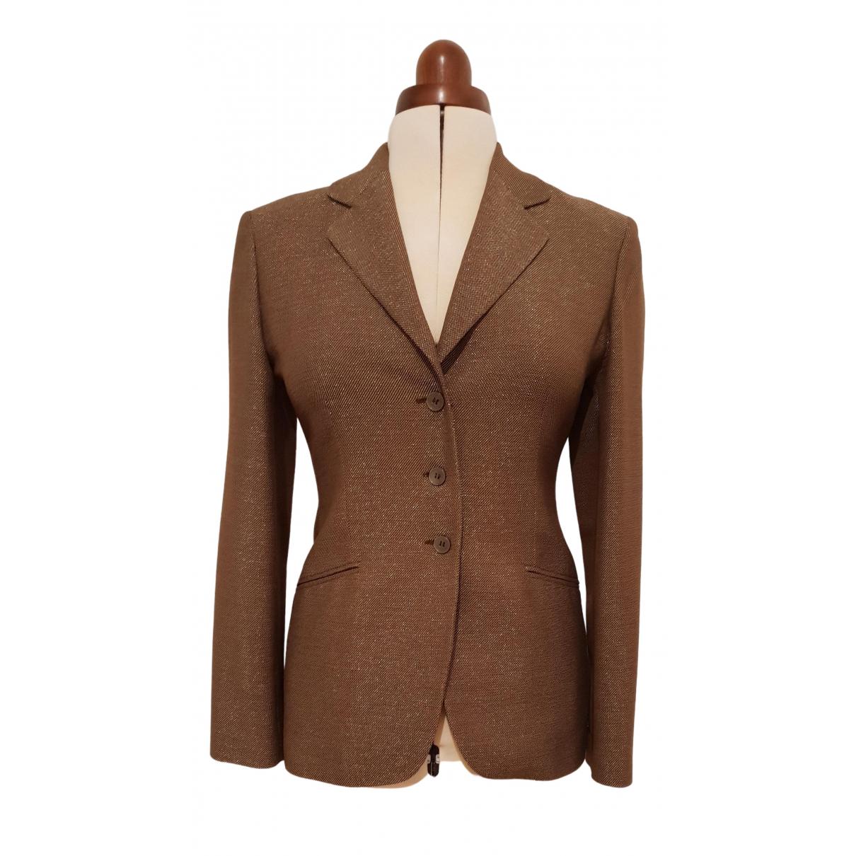 Genny - Veste   pour femme en laine - marron