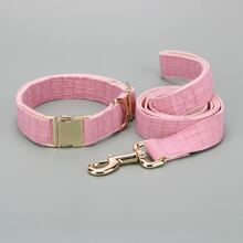 1pc Solid Dog Collar & 1pc Leash