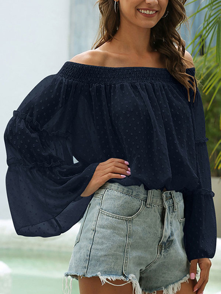 Milanoo Blouse For Women Blue Layered Pleated Bateau Neck Casual Long Sleeves Polyester Tops