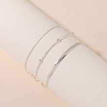 3pcs Men Simple Chain Bracelet