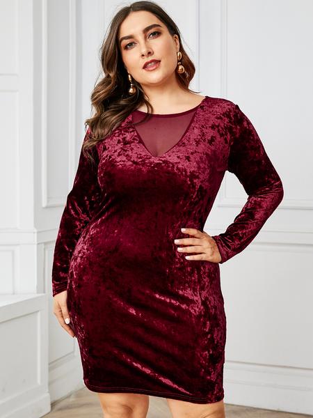 YOINS Plus Size Burgundy Mesh Velvet Dress