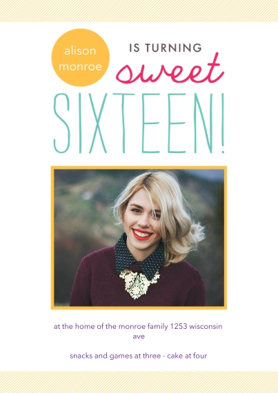 Birthday Party Invites 5x7 Cards, Premium Cardstock 120lb, Card & Stationery -Spotlight Sweet 16