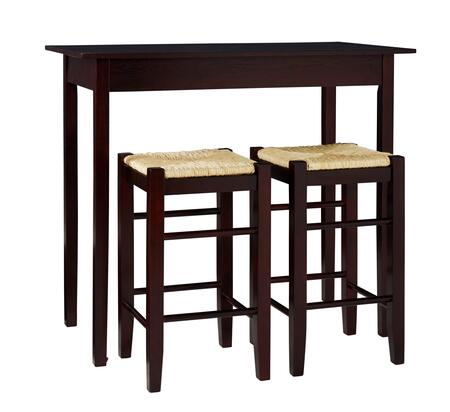 02850ESP-01-KD-U Tavern Collection 3 PC Counter Height Set with Wood Veneer Frame in Espresso
