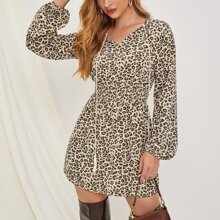 Tie Neck Lantern Sleeve Shirred Waist Leopard Dress