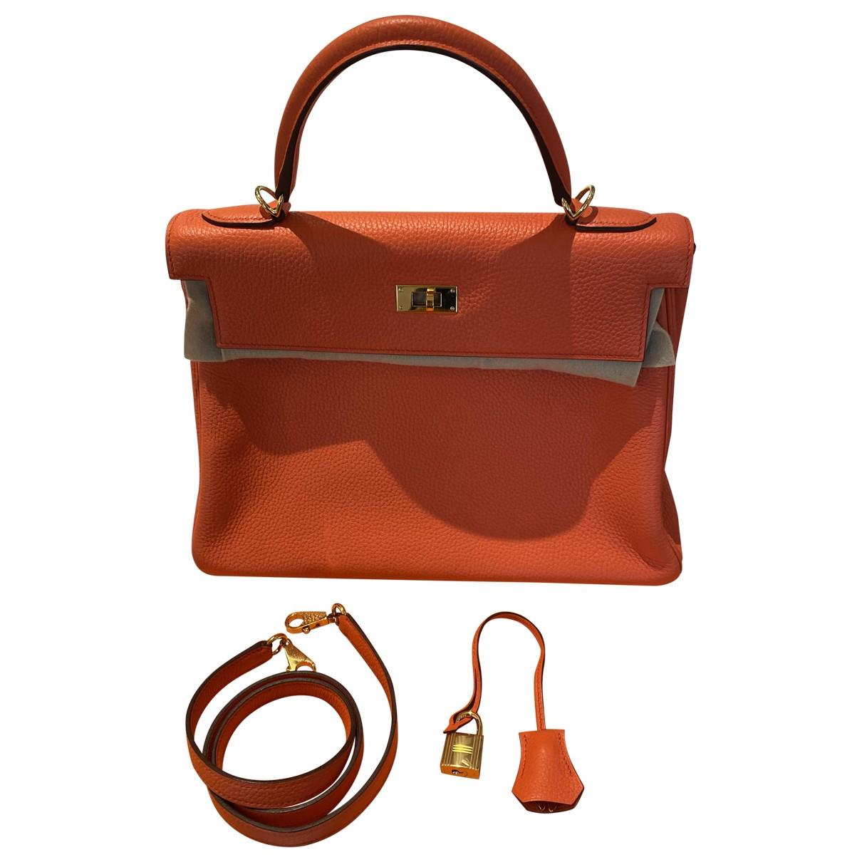 Hermes - Sac a main Kelly 32 pour femme en cuir - orange