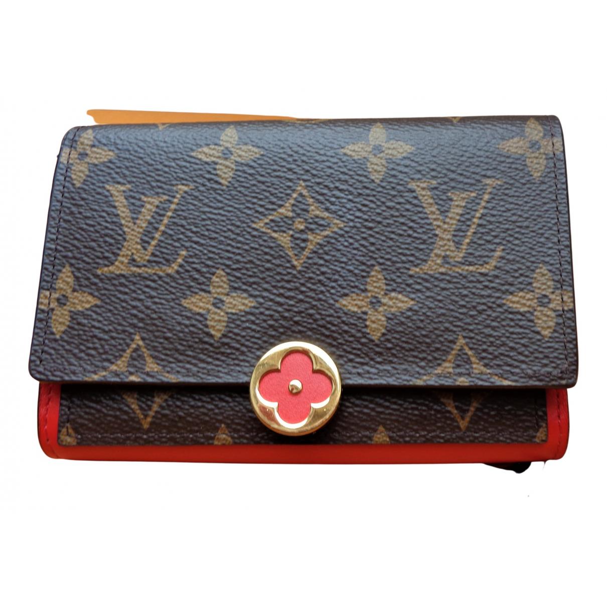 Louis Vuitton Flore Portemonnaie in  Braun Leinen