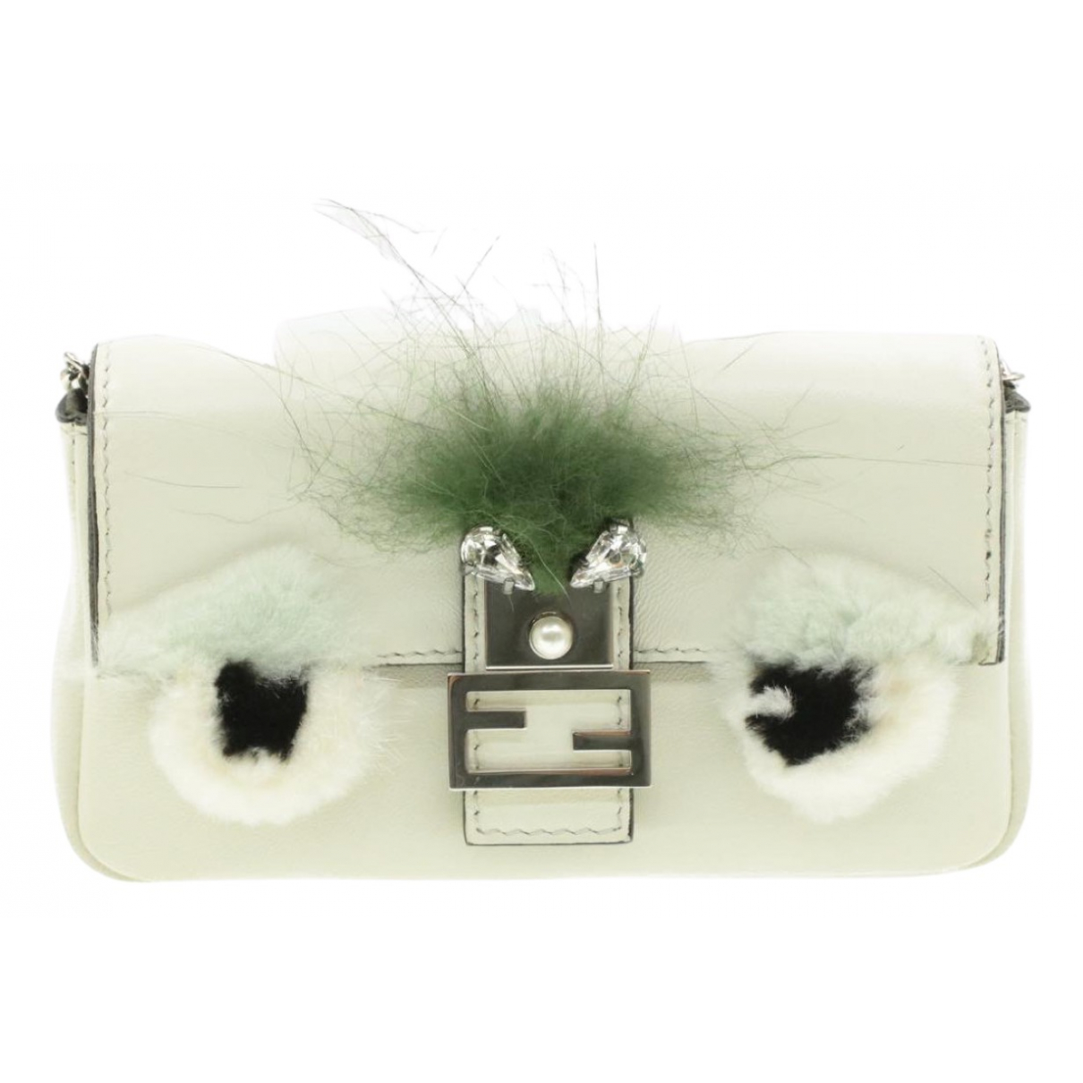 Fendi Baguette White Leather Clutch bag for Women N