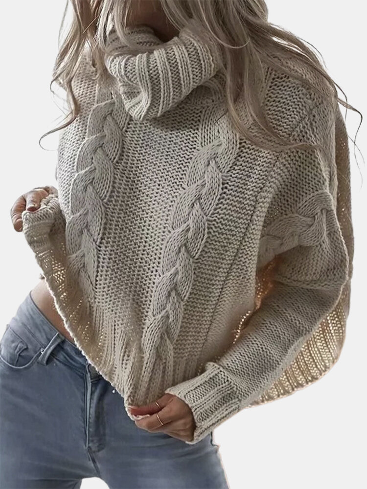 Casual Solid Color High Neck Plus Size Sweater For Women