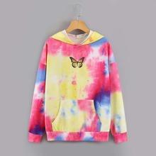 Capucha con bolsillo con estampado de mariposa de tie dye