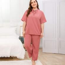Schlafanzug Set mit Punkten Muster, Ruesche am Kragen und Band vorn