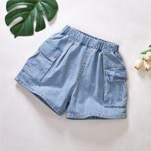 Toddler Girls Flap Pockets Denim Shorts