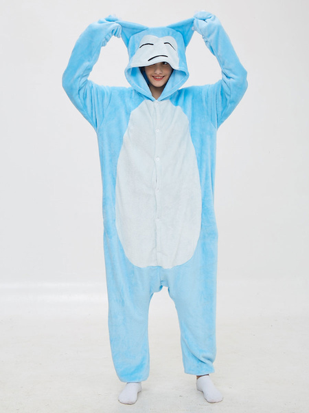 Milanoo Disfraz Halloween Snorlax Kigurumi Pijamas Onesie Cartoon Anime Blue Flannel Jumpsuit Kigurumi Disfraces Carnaval Halloween