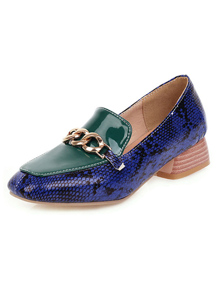 Milanoo Low Heels Block Heel Square Toe Snake Print Pumps