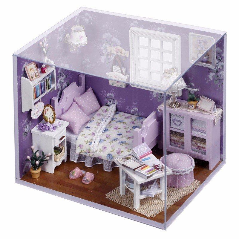 DIY Miniature Princess Cottage Dollhouse Kit With Cover LED Light