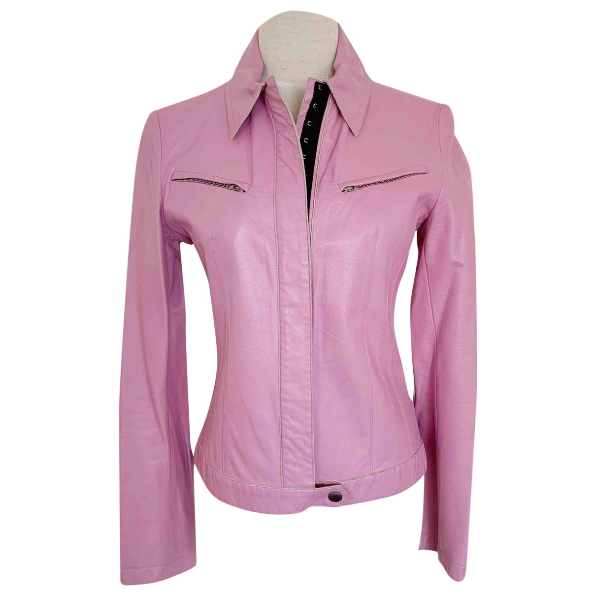 Costume National \N Pink Leather jacket for Women 38 IT
