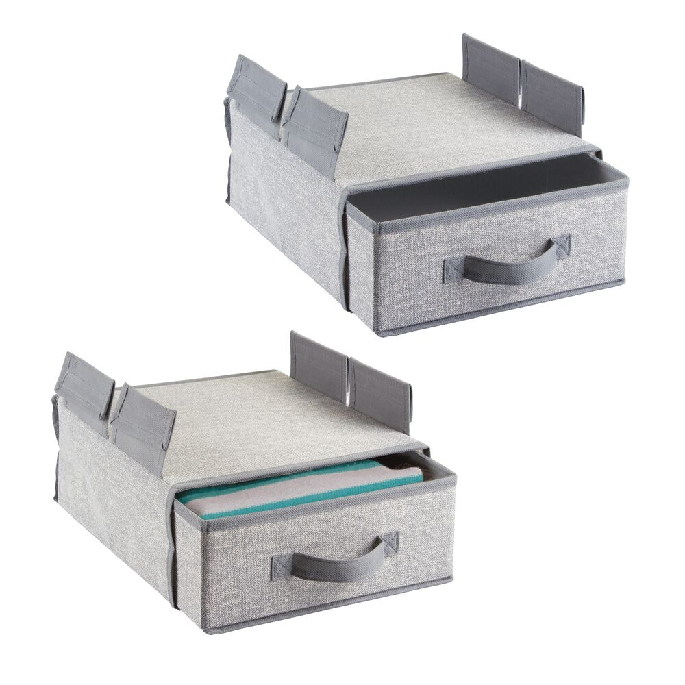 Fabric Hanging Storage Drawer for Closet in Gray, 11.75 x 11.75 x 7.75, by mDesign