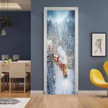Snow Scene Print Door Sticker