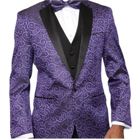 Purple 2Toned Alberto Nardoni Paisley Sequin Blazer or Tuxedo Suit