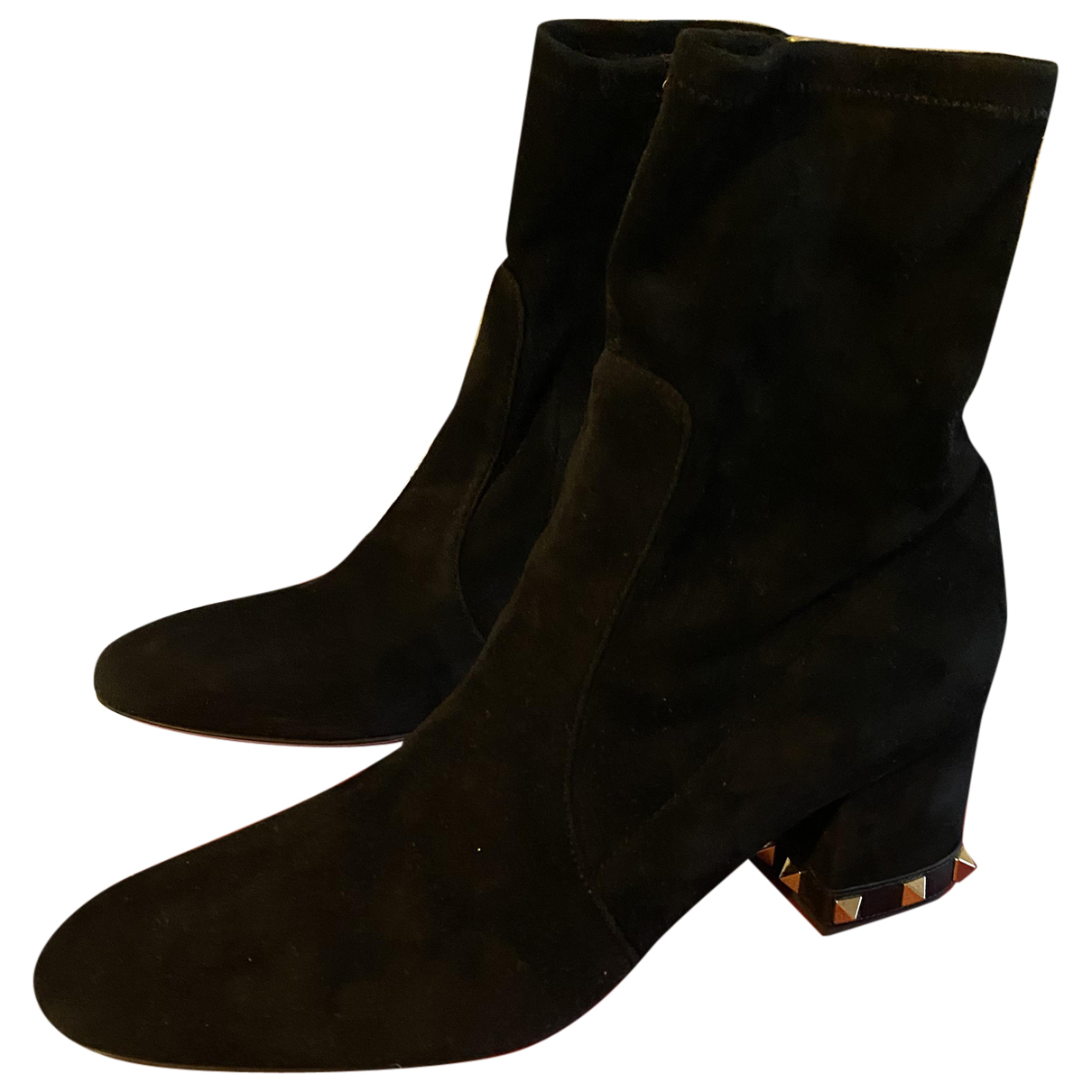 Valentino Garavani - Boots Rockstud pour femme en suede - noir