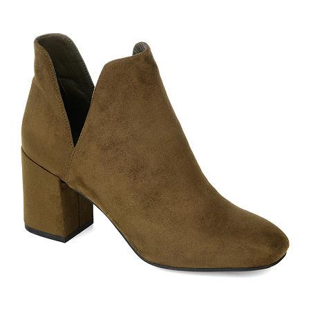 Journee Collection Womens Gwenn Block Heel Booties, 7 1/2 Medium, Green