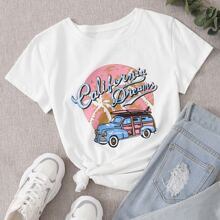 T-Shirt mit Auto und Buchstaben Grafik