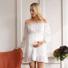 Maternity Frilled Off Shoulder Shirred Panel Ruffle Hem Swiss Dot Dress