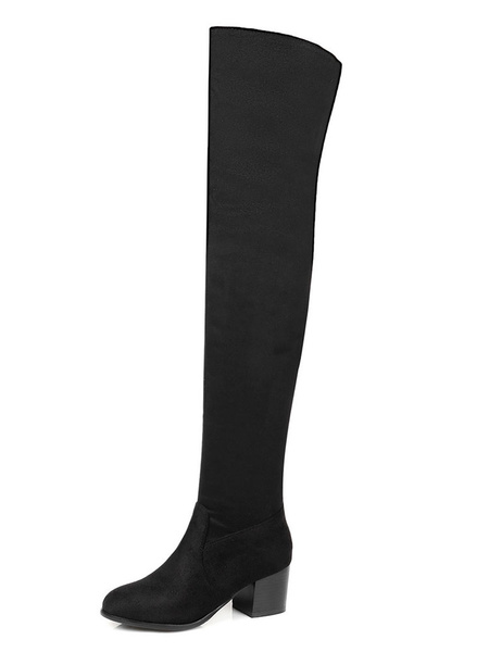 Milanoo Thigh High Boots Womens Micro Suede Solid Color Round Toe Chunky Heel Over The Knee Boots