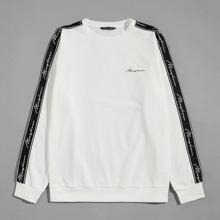 Pullover mit Kontrast, seitlichem Band und Buchstaben Grafik