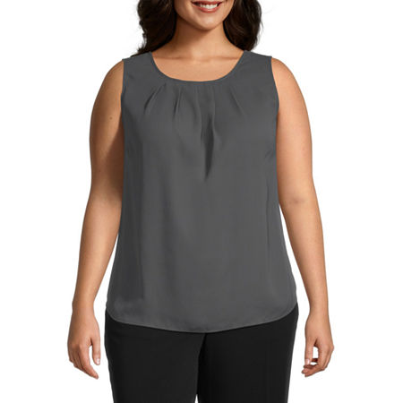 Worthington Womens Pleat Neck Shell - Plus, 0x , Gray