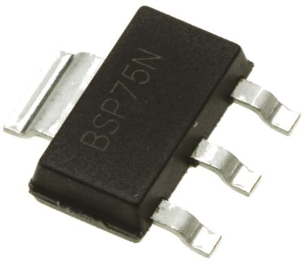DiodesZetex BSP75NTA, 1-Channel Intelligent Power Switch, Low Side, 1.1A, 60V 3 + Tab-Pin, SOT-223 (5)