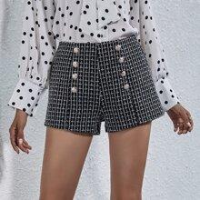 Tweed Shorts mit zweireihigen Knopfen und geradem Beinschnitt