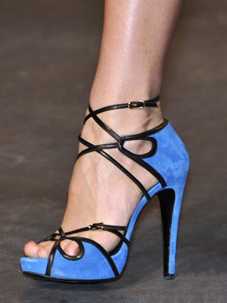 Milanoo Blue Sandal Shoes High Heel Sandals Peep Toe Cut Out Party Shoes