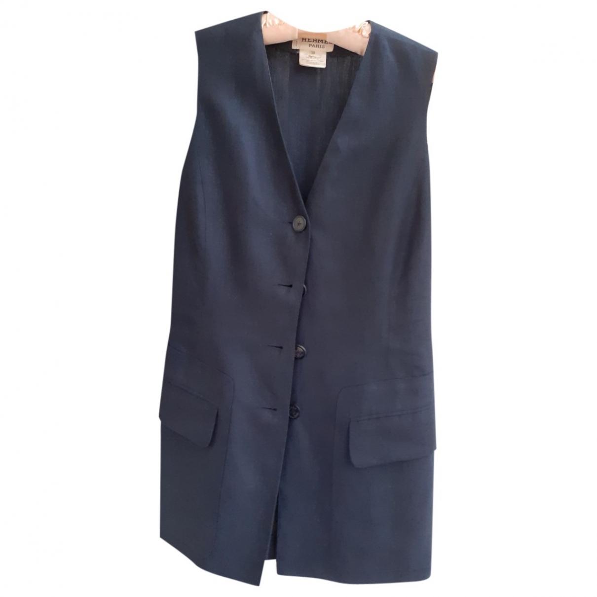 Hermes - Veste   pour femme en lin - bleu